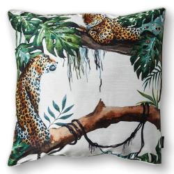 CUSHION COVER CHEETAH 50X50 WHITE